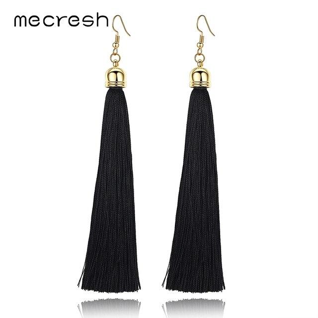 Mecresh 5 Colors Fiber Long Tassel Earrings Fashion Jewelry 2017 Bohemian Pendantes Femmes Ethniques Earrings for Women EH422