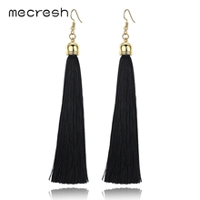 Mecresh 5 Colors Fiber Long Tassel Earrings Fashion Jewelry 2018 Bohemian Pendantes Femmes Ethniques Earrings for
