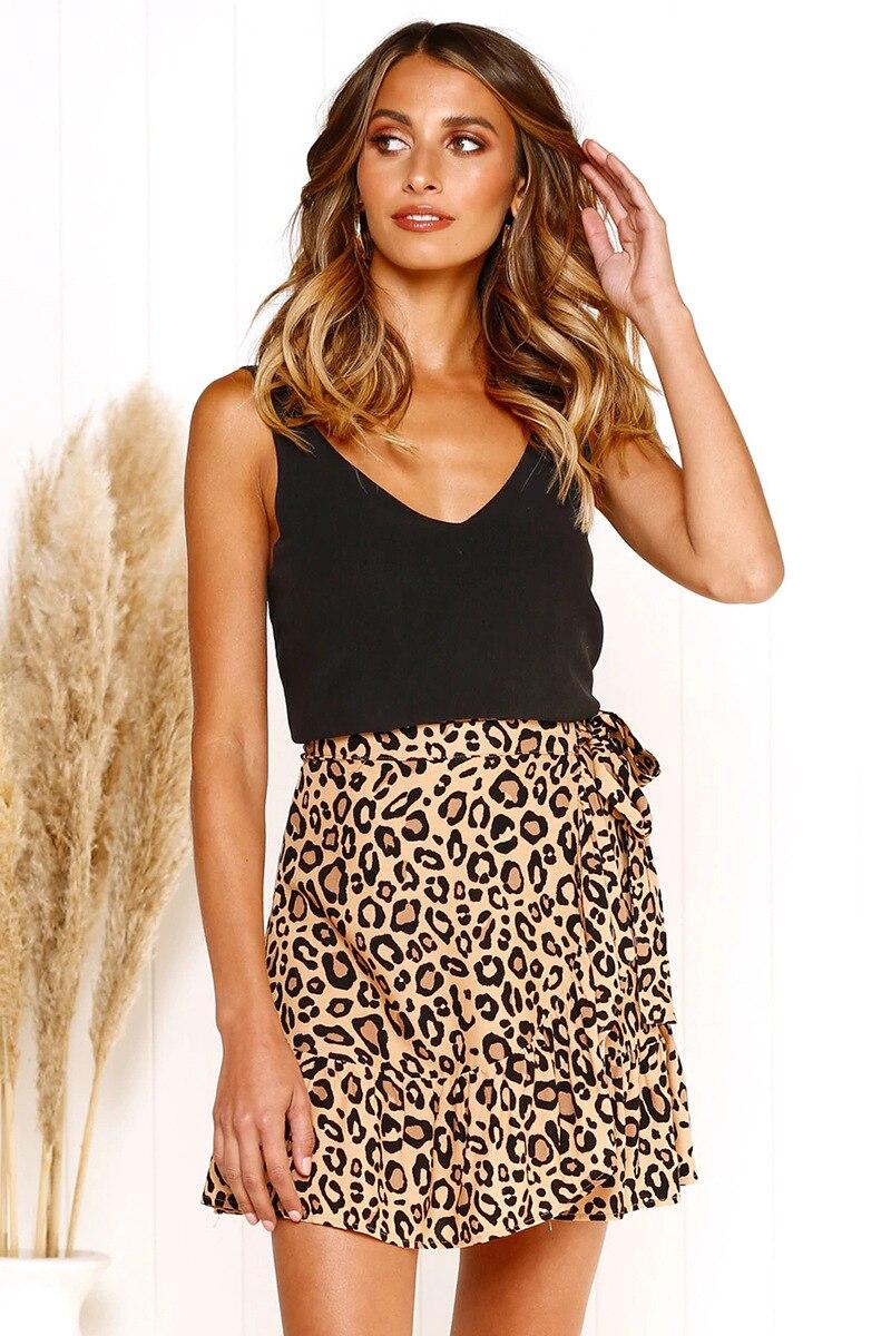 Goed Vrouwen Rok Korte Hoge Taille Casual Beachwear Onregelmatige Zomer Rok Vrouwelijke Print Bandage Ruches Rokken Luipaard Dot