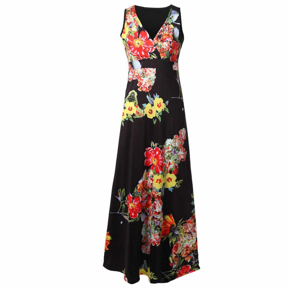 CHAMSGEND phụ nữ ăn mặc 2018 Thời Trang Phụ Nữ Boho Maxi Bãi Biển Mùa Hè Dài Cocktail Đảng Hoa Đầm June27