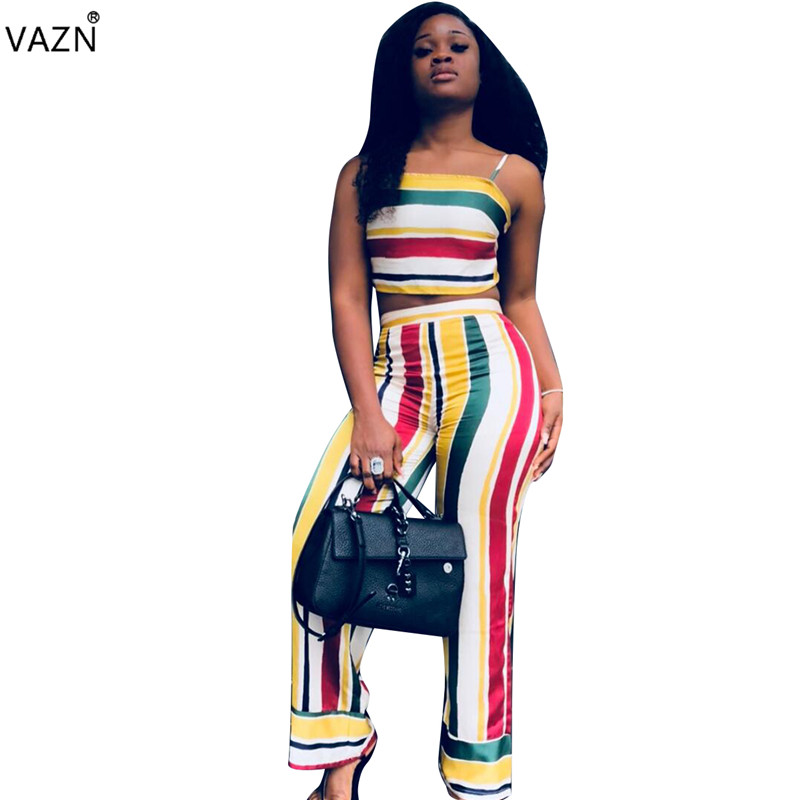 VAZN 2018 new fashion spaghetti strap striped jumpsuits women strapless sleeveless jumpsuits ladies backless jumpsuits ALS006