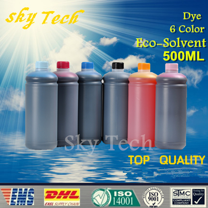 500ML*6 Dye Eco Solvent Ink suit for Epson Flatbed  Printer , K C M Y LC LM , 6 color ,for wood ,metal ,PVC ceramic etc free shipping 6pcs t0851n t0852n t0853n t0854n t0855n t0856n dye ink for epson t60 inkjet printer bk c m y lm lc
