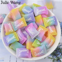 Julie Wang 10PCS Resin Mixed Sweet Candy Charms Artificial Food Slime Pendants Jewelry Making Accessory Home Table Decor Props