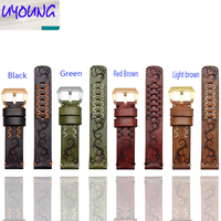 UYOGN High Quality For Male 28mm Tree Cream Strap Watch Leather Sculpture Retro Genuine Leather Band