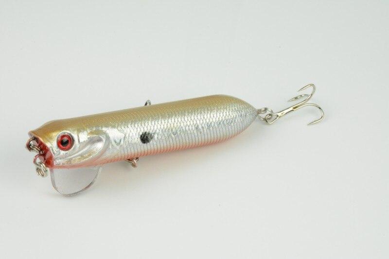 HENGJIA 4PCS 9.5cm 18g Tube Shape Popper Lures Hard Plastic Laser Baits 3D Fish Eye Poppers Floating Fishing Bait PO017