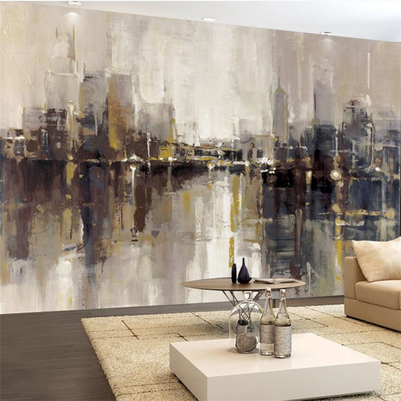 beibehang Custom Wallpapers 3d Photo Murals Modern Artistic Abstracts Oil Paintings Urban Buildings Skyscrapers Background Wall