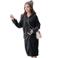 Silk velvet dress Winter women Base long Loose Double sided plus velvet thickening Long sweater winter warm women dress