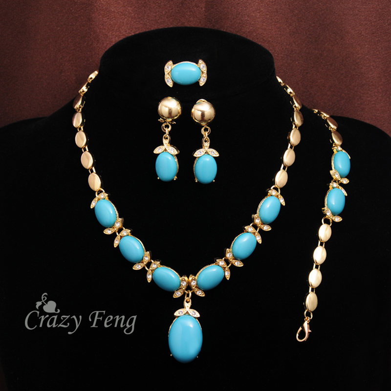New Arrive Zinc Alloy Jewelry Blue Stone Crystal Necklace Bracelet Earrings Ring Gold-color Jewelry Sets For Women Free Shipping