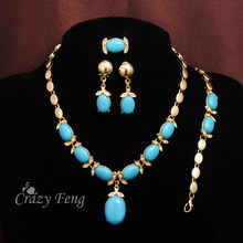 New Arrive Zinc Alloy Jewelry Blue Stone Crystal Necklace Bracelet Earrings Ring Gold-color Jewelry Sets For Women Dropshipping(China)