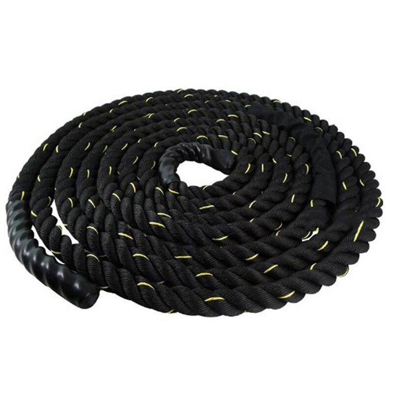12 m/15 m dacron material pesado ouro preto batalhando corda treinamento de força do corpo físico esporte fitness exercício workout corda - 2