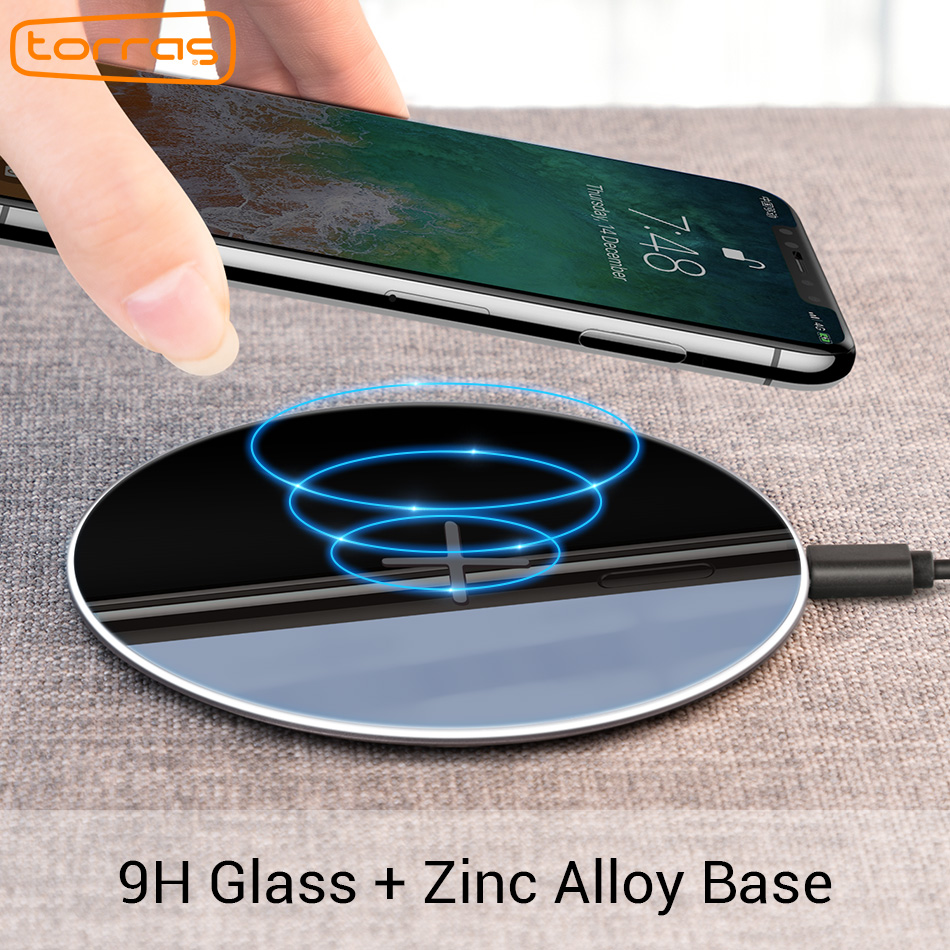 Torras Original Qi Wireless Charger for iPhone x 8 8plus Slim Fast 10W USB Wireless Charging for Samsung S8/S7 Edge Wireless Pad