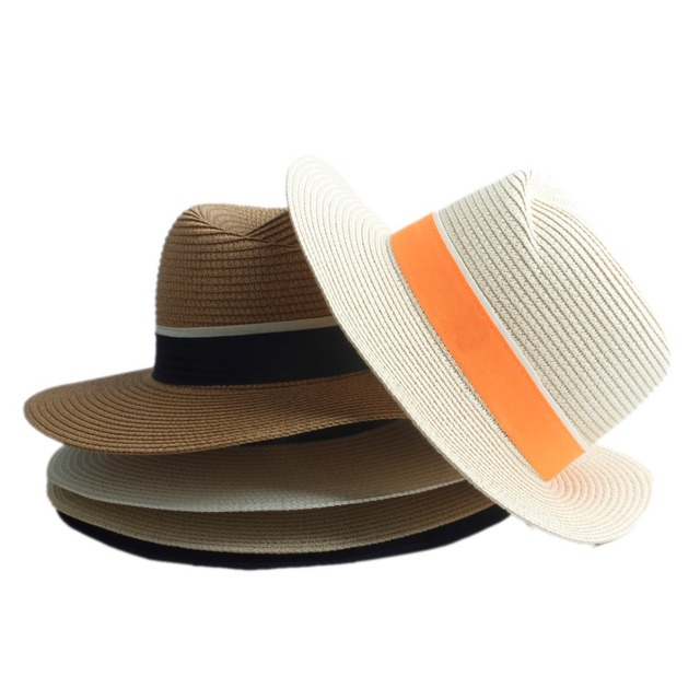Fashion Women Straw Wide Brim Sun hat Woman Summer Fedora Cap Sunhat Trilby  panama Hat Gangster sombrero Cap Free Shipping 20 cbbf063ba6bb