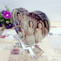 Customized Heart Shaped Photo Album Glass Ornaments Personalized Picture Pasting Glass Miniature Home Decor DIY Love Gifts