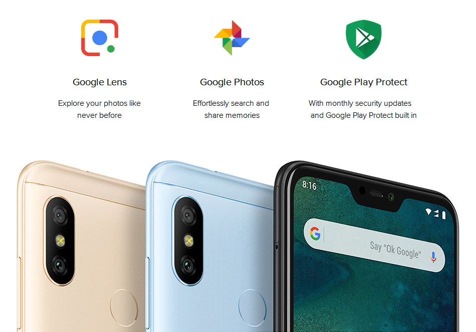 """In Stock! Global Version Xiaomi Mi A2 Lite 4GB 64GB Mobile Phone 5.84"""" Full Screen Snapdragon 625 AI Dual Cameras Android 8.1 CE 14"""