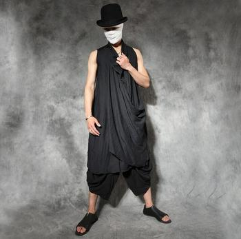 Chinese style male vintage long design vest mens personalized poncho asymmetrical male thin vests men blusa masculina black grey
