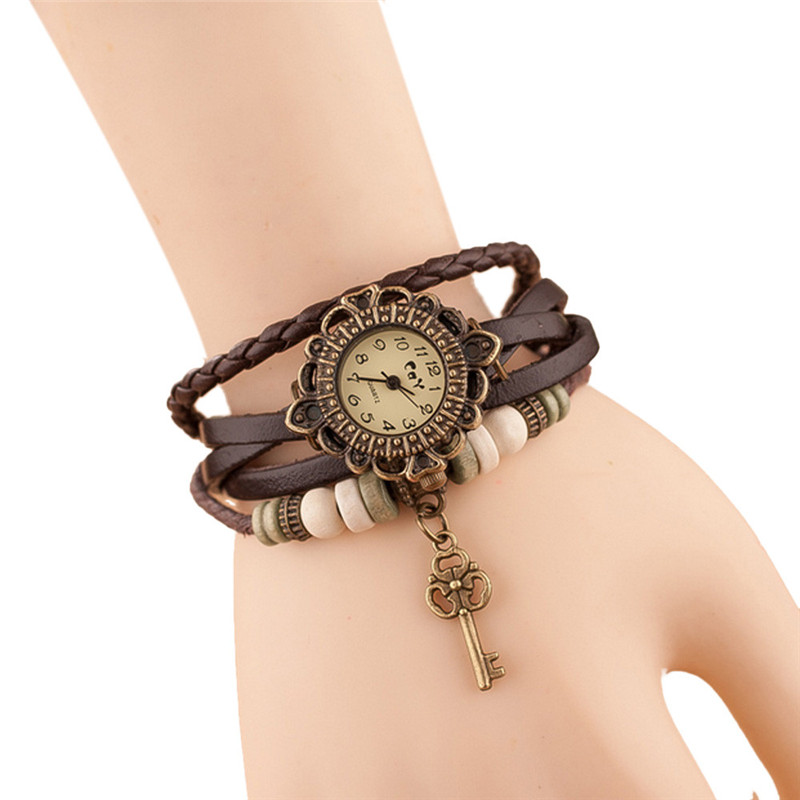 Fashion Leather Bracelet Watch Women Casual Dress Vintage Leaf Beads Wristwatch Luxury Quartz women Watch relogio feminino #C HTB1aZpUCpuWBuNjSszbq6AS7FXal
