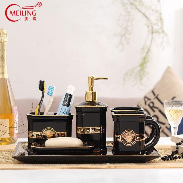 Luxury European Black Gold Bathroom Sets Ceramic Decorative Toilet Accessories Toothbrush Holder Cup Soap Dispenser Storage