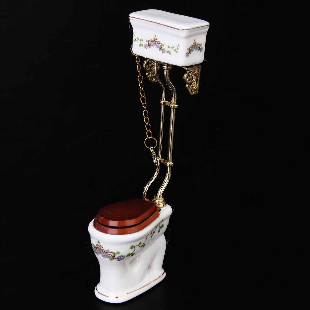 Dollhouse furniture Vintage Victorian style bathroom porcelain toilet doll house miniature white + gold Pretend Toys