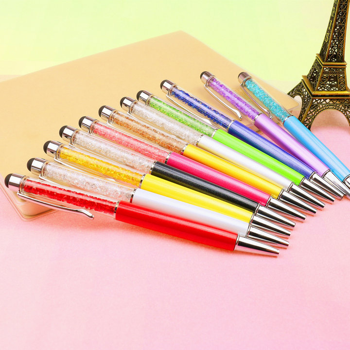 1 PCS Cute Crystal Student Diamond Ballpoint Pens Stationery Ballpen 2 In 1 Crystal Stylus Pen Touch Pen School Office Supplies