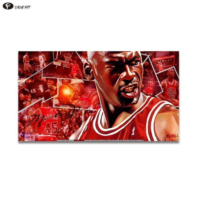 CHENFART Kein Gestaltet Fotos Bilder Kühles Michael Jordan Poster Rot  Hintergrund Legenden In Sport Wand Bilder