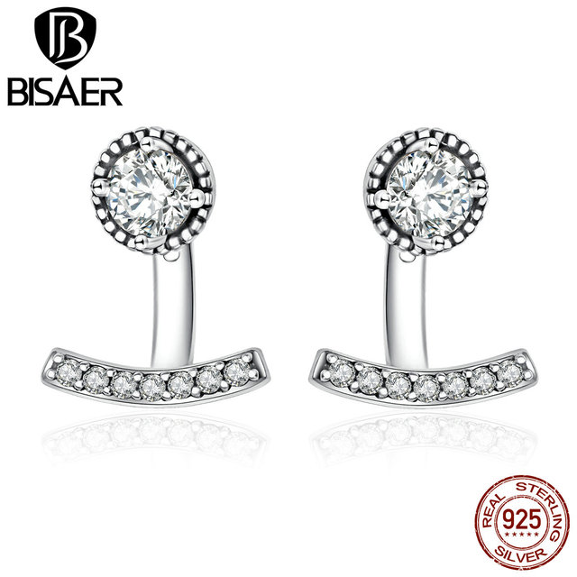 7a3d8a27c Authentic 100% 925 Sterling Silver Earrings Abstract Elegance, Clear CZ  Stud Earrings for Women Sterling Silver Jewelry Bijoux