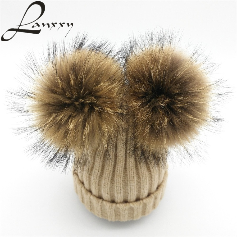 Lanxxy Real Mink Fur Pompom Hat Wanita Winter Caps Knitted Topi Cotton Wol Dua Pom Poms Skullies Beanies Bonnet Girls Cap Perempuan