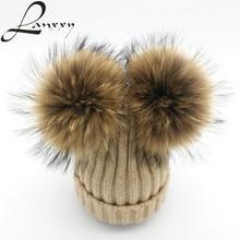 Cotton Hats Caps Pompom-Hat Beanies-Bonnet Skullies Knitted-Wool Girls Women Winter Real