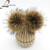 Lanxxy Real Mink Fur Pompom Hat Women Winter Caps Knitted Wool Cotton Hats Two Pom Poms