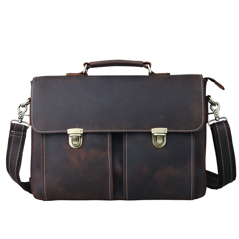 TIDING Luxury Genuine Crazy Horse Leather Men Messenger Bag Handbags Business Briefcase Shoulder Bag Retro Style Crossbody Bag joyir men briefcase real leather handbag crazy horse genuine leather male business retro messenger shoulder bag for men mandbag