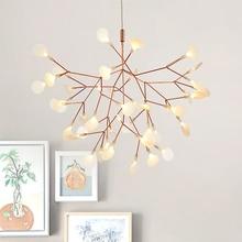 Золотой светодиодный подвесные светильники металл, акрил в форме дерева с ветвями Внутреннее освещение Ресторан гостиная для комнаты, Подвесная лампа