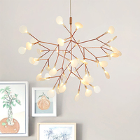 Golden LED Pendant Lights Metal Acrylic Tree Branch Shape Indoor Light Fixtures Restaurant Living Room Pendant Lamp