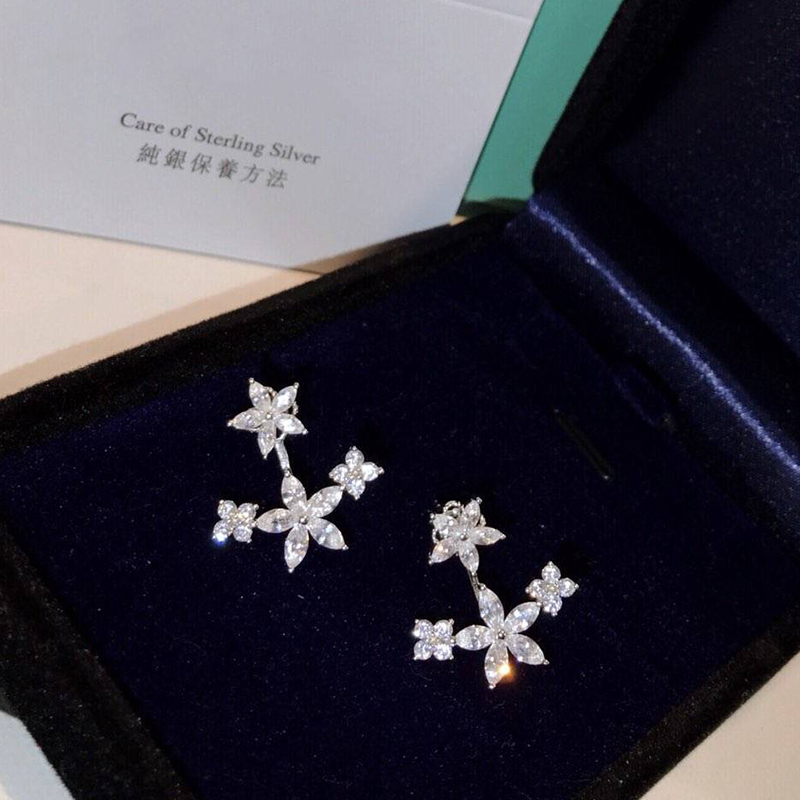 Hot Pure 925 Silver Sterling Jewelry For Women Luck Flower Earrings 5A Cubic Zirconia Sakura Flower Stud Earring Wedding Jewelry футболка классическая printio рак зодиак