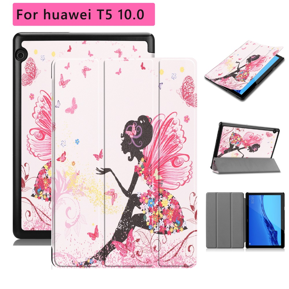 New Corlorful Printed Folio Standing Case For Huawei Mediapad T5 10.0 With Stylus Pen