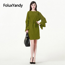 Cascading Ruffle Flare Sleeve Dress European Vestidos Women Plus Size Loose Sashes Mini Dress Green CMC1929
