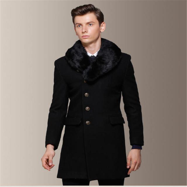 Casaco de lã dos homens gola de pele removível 60% lã dos homens sobretudo ervilha longo Peacoats outono e inverno moda Slim Fit Trenchcoat A751
