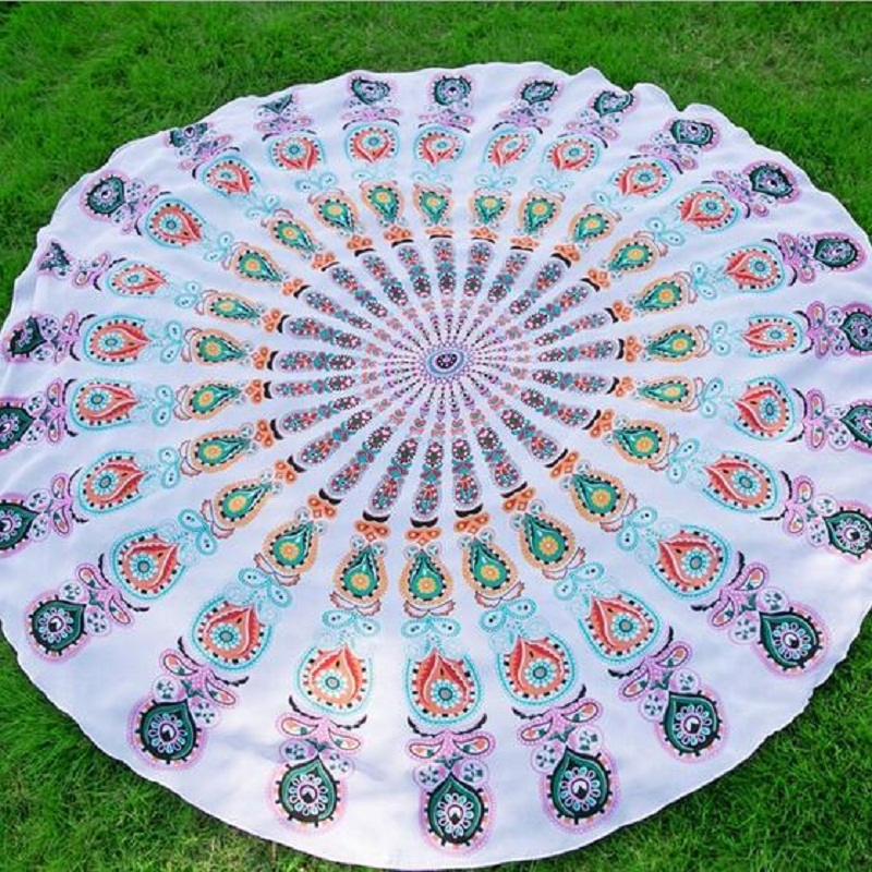 Round European Style Tapestry Outdoor Beach Towel Large
