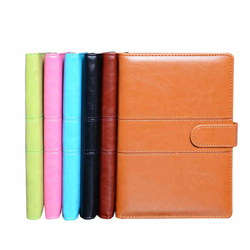 Magnetic buckle notebook stationery A5 leather planner office supplies daily memos day weekly diary note book paper with line pu leather floral flower schedule book diary weekly planner notebook material escolar school office supplies stationery 01605
