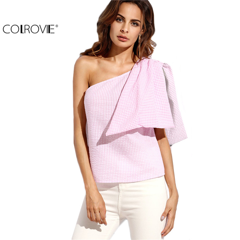 623d2e68e412 COLROVIE Pink Plaid Sleeveless Bow One Shoulder Blouse Ladies Cute Shirt  Autumn Fashion Top Women Vogue Blouse-in Blouses & Shirts from Women's  Clothing & ...