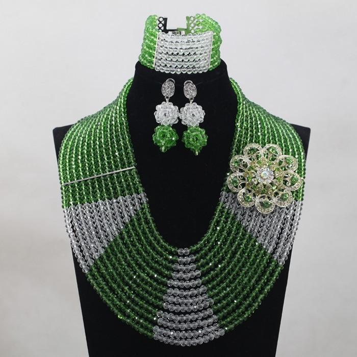 Mode 12 couches clair blanc AB cristal Costume femmes bijoux ensemble vert mariée argent collier ensemble livraison gratuite WD797