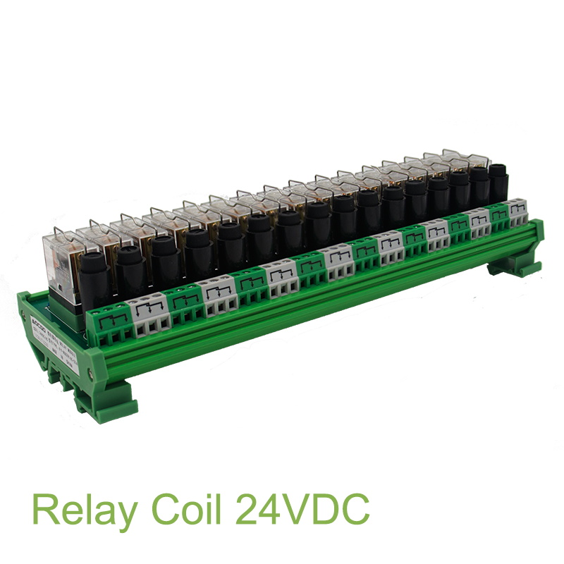 16 Channel 1 SPDT DIN Rail Mount OMRON G2R 24V DC AC with fuse Interface Relay