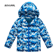 Kids Down Parkas Jackets For Boy Fashion Girl Winter Warming Thick Floral Pattern Hooded Outwear Coats Childrens Clothing