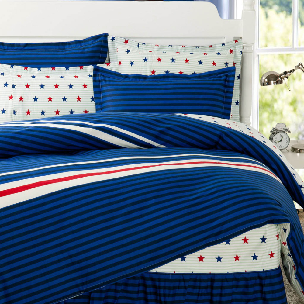 Blue and white bedding - Star Print Striped Bedding Sets 100 Cotton 4pc Bed Skirt Type Bed Sheet Set Queen Size Blue White Striped Design Bed Sheet Sets
