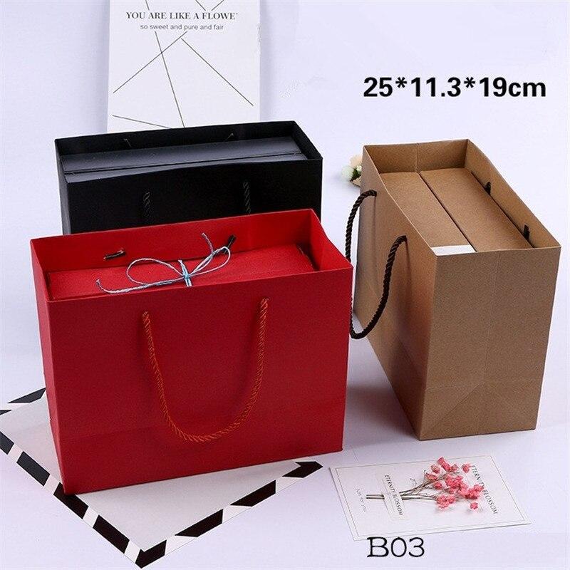100 unids/lote Kraft bolsa de regalo de papel con mango 25x11,3x19 cm boda cumpleaños fiesta regalo de Navidad nuevo bolsas para compras de año-in Suministros de envoltorios y bolsas de regalo from Hogar y Mascotas    1