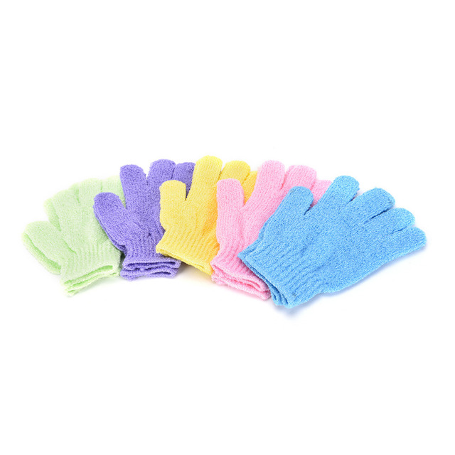 1 Pair Shower Bath Gloves Exfoliating Wash Skin Spa Massage Body Scrubber Cleaner Bathing Cleaning Products Random Color 1
