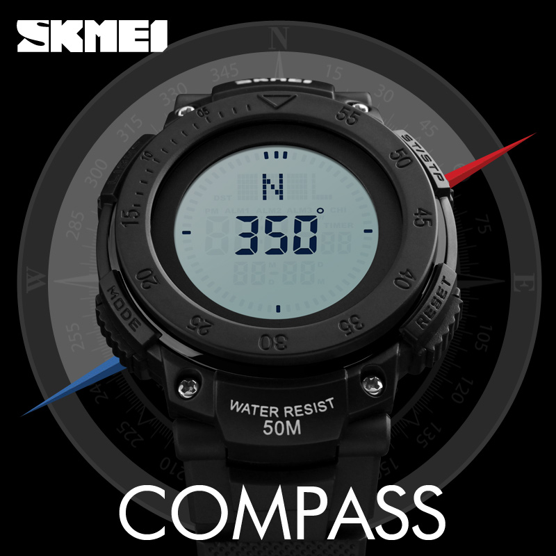 SKMEI Outdoor Sport Watch Men Countdown Chrono Alarm Compass Watches Waterproof Fashion Digital Wristwatches Relogio Masculino|Digital Watches| |  - title=