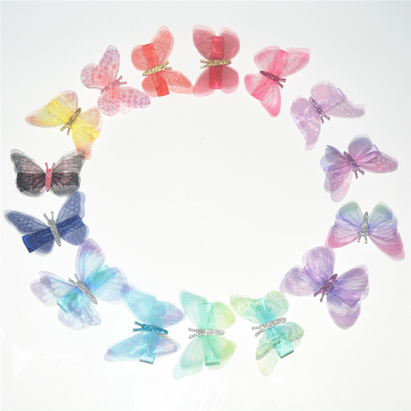 15pcs/lot Beautiful Colorful Gauze Butterfly Hair Clips Headware for Kids Children DIY Hair Accessories 1 set new girls colorful carton hair clips small crabs hair claw clips mini hairpin kids hair ornaments claw clip