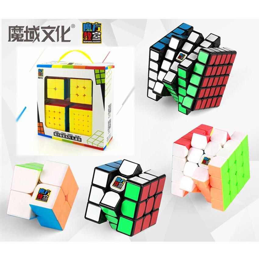 Paquet de Cube de vitesse, Moyu Mofang Jiaoshi MF2S 2x2 MF3S 3x3 MF4S 4x4 MF5S 5x5 Cube magique sans bâton 2345 ensemble avec boîte-cadeau