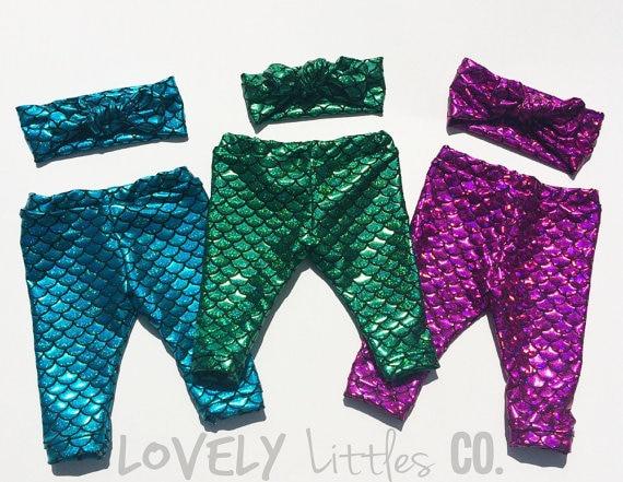 480cf8b7f5e19 Mermaid Baby Leggings,Little Mermaid Leggings,capris Baby Girl clothes baby  toddler child spandex pants Outfit Set,Headband