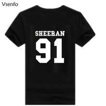 Vsenfo Fashion T-Shirt Men Sheeran 91 Ed Sheeran Music Your Band T Shirt Mens Punk Style Hipster Tee Shirt Femme Camiseta