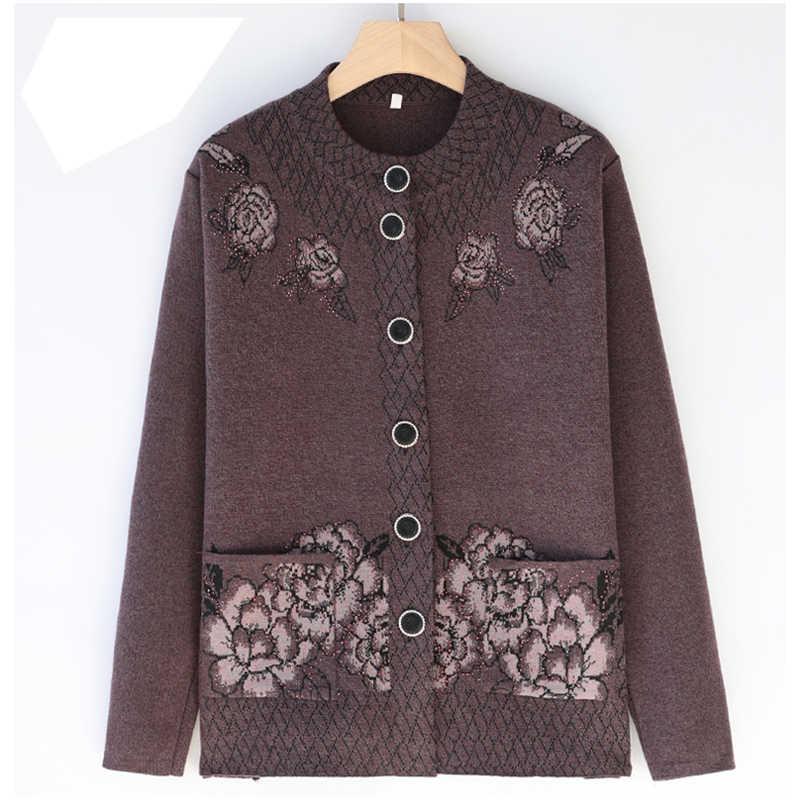 여성 스웨터 패션 캐주얼 중년 어머니 니트 스웨터 카디건 플러스 크기 4xl 할머니 가을 겨울 카디건 코트 1003